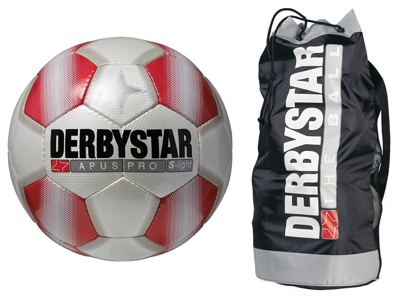 Derbystar Ballpaket, 10 x Trainingsball APUS PRO S-Light weiß/rot + 1 Ballsack