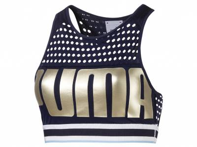 Puma Training Damen Mid Impact BH-Top, peacoat-metallicgold